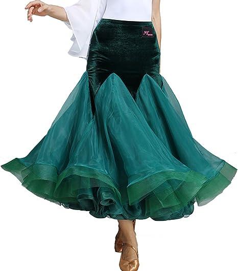 Q-JIU Falda de terciopelo natural para mujer, diseño de baile ...
