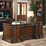 Coaster Home Furnishings  Tucker Modern Traditional Five Drawer Executive Office Desk with CPU Storage - Rich Brown