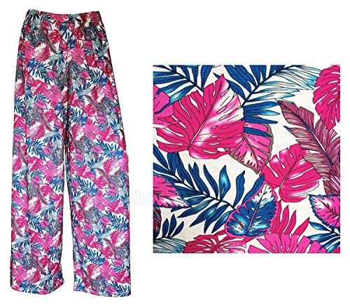 NEW patrones para coser para mujer diseño estampado con flores UK extra anchos para hombre pantalones de patas de madera de PALAZZO pantalones de 8-26 MULTI LEAF