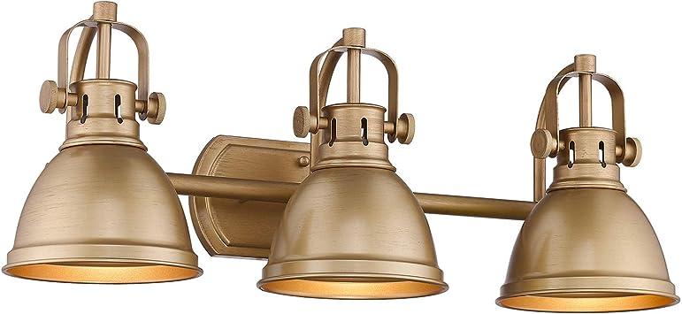 Emliviar 3 Light Bathroom Vanity Lights Antique Gold Finish With Metal Shade 4054 Ag Amazon Com