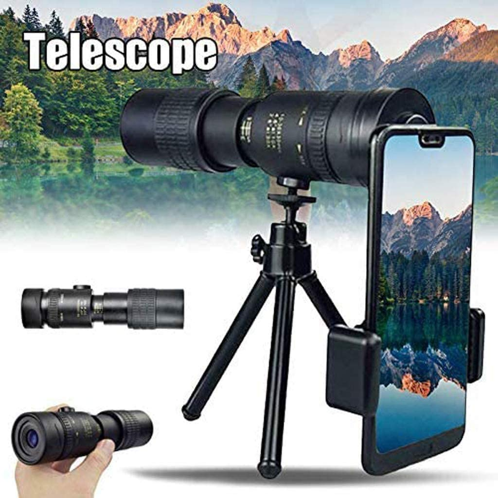 Super Telephoto Zoom Monocular Telescope 4K 10-300X40mm with Tripod and Clip Waterproof Fogproof Monocular with Smartphone Holder /& Tripod for Bird Watching//Hunting//Camping//Travelling//Hiking