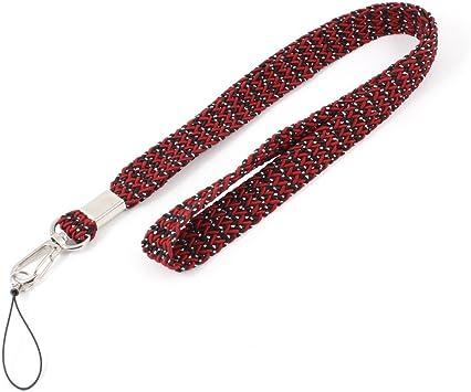 Rojo Negro trenzado banda para el cuello Correa Hilo para el teléfono celular: Amazon.es: Electrónica