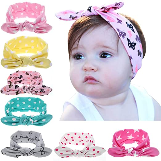 Toddler Baby Cotton Elastic Turban Hairband Headband Stretch Knotted Head Wrap