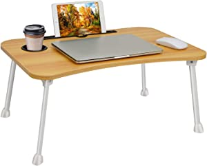 Laptop Table Bed Table Standing Lap Desk,Foldable Laptop Breakfast Serving Tray Bed Notebook Stand Portable Dining Table Writing,Studying,Adults Kids Eating Tray in Sofa Bed Floor (60x40 cm)- Walnut
