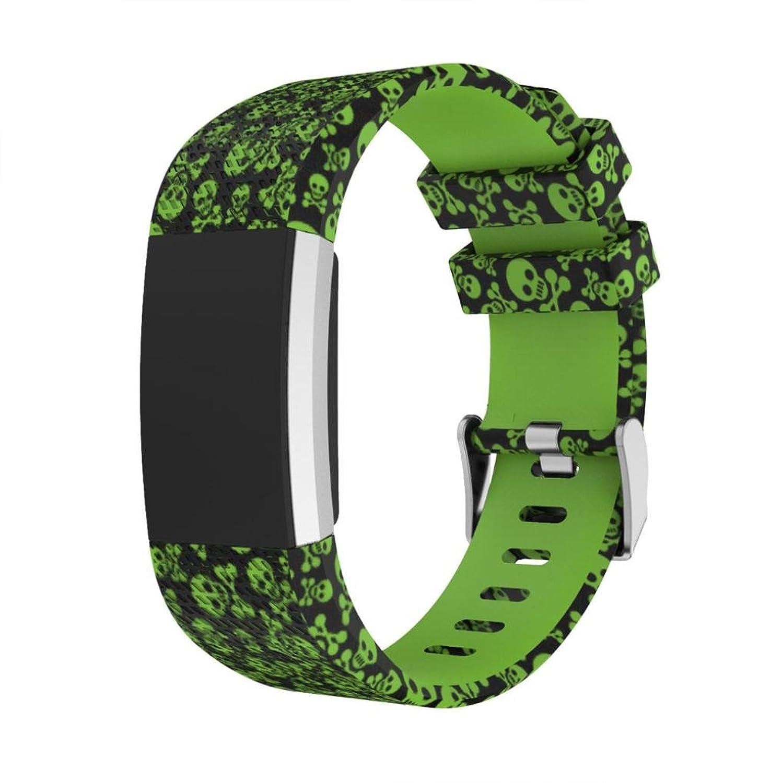 For Fitbit Charge 2時計ストラップ交換用印刷、プラスサイズスポーツシリコンリストバンド C  C B078SBBYRS