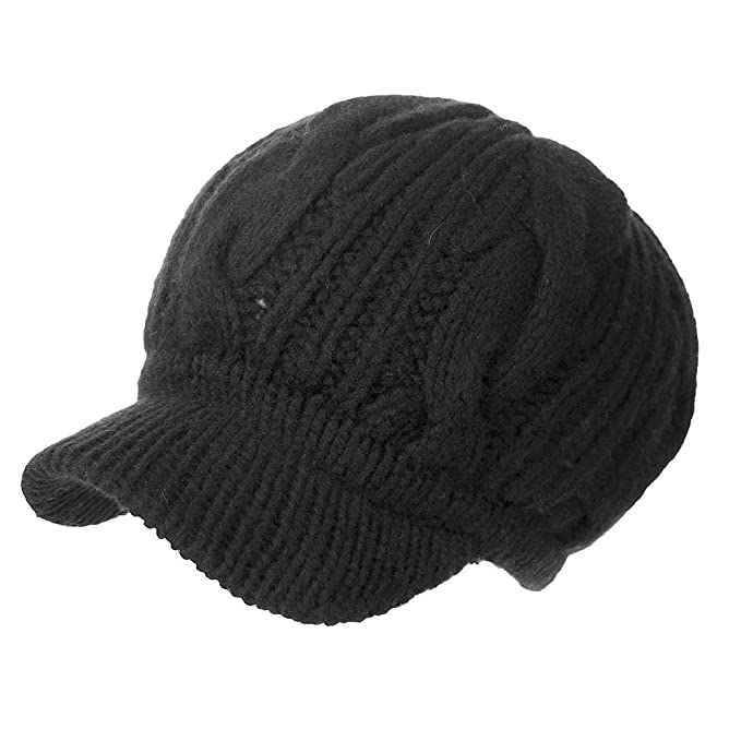 3aa1d86af43 SIGGI 100% Merino Wool Knit Newsboy Cap Winter Hat Black Beret with Visor  Cold Weather