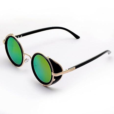 Occhiali tondi, stile steampunk vintage anni 50, montatura argento e nera, Uomo, Brown
