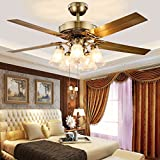Luxury Fan Chandeliers European Restaurant Ceiling Fan Lights Iron Leaves And Wood Leaves 5 Head LED Glass Cover Fan Lights ( Color : B -(cable switch) )