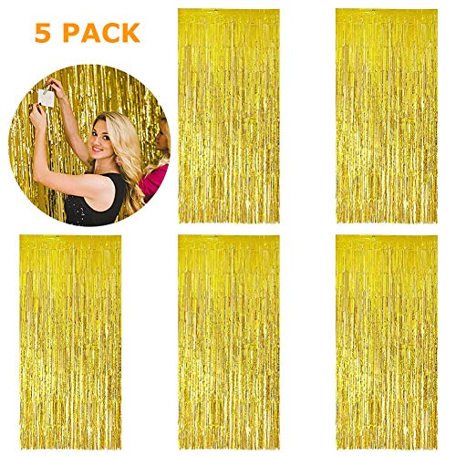 5 Pack 3.28 ft x 6.56 ft Metallic Tinsel Foil Fringe Curtains for Party Photo Backdrop(Gold)]()