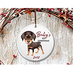 New Dog mom Christmas ornament, Baby's 1st Christmas, Doberman puppy- Dated 2018