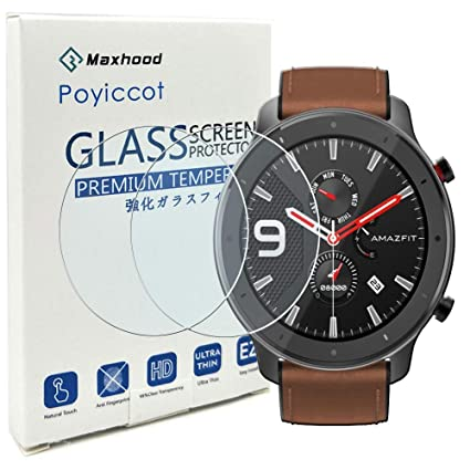 for Amazfit GTR 47mm Screen Protector, Poyiccot (2pack) Anti-Bubble Scratch-Resistant Tempered Glass Screen Protector Film for Amazfit GTR 47mm