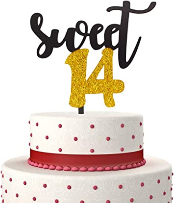 Groovy Sweet 14 Cake Topper For Happy 14Th Birthday Or Anniversary Party Personalised Birthday Cards Veneteletsinfo
