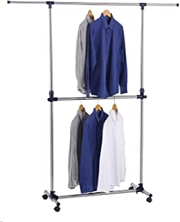 Finnhomy Adjustable Double Rails Garment Rack Portable Rolling Hanging Clothes Racks With Casters 2