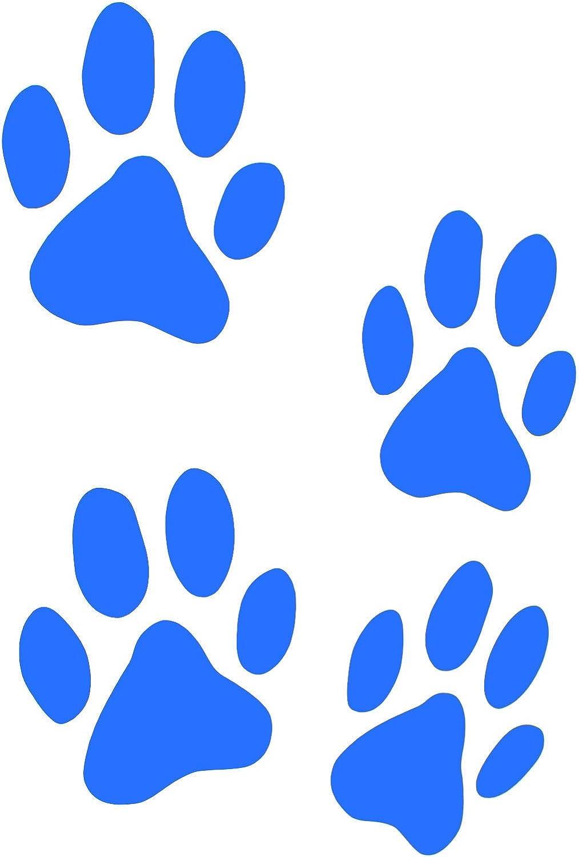 Finest Folia 12er Set Hundepfoten Je 6x6 Cm Pfoten Pfötchen Hund Katze Aufkleber Sticker Für Auto Motorrad Wand Laptop Möbel K015 Azurblau Auto