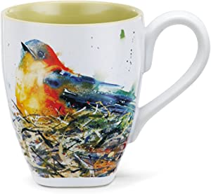 DEMDACO Bird in Nest Watercolor Green On White 16 Ounce Glossy Stoneware Mug With Handle
