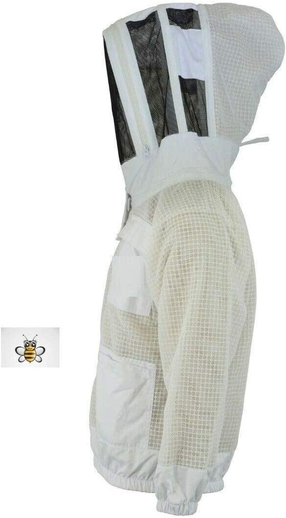 Protective Bee 3 Layer Safety Unisex White Fabric Mesh Beekeeping Jacket Beekeeping Fencing Veil Protective Clothing Beekeeping Clothing Beekeeping Protective Clothing Ventilated Bee-4XL