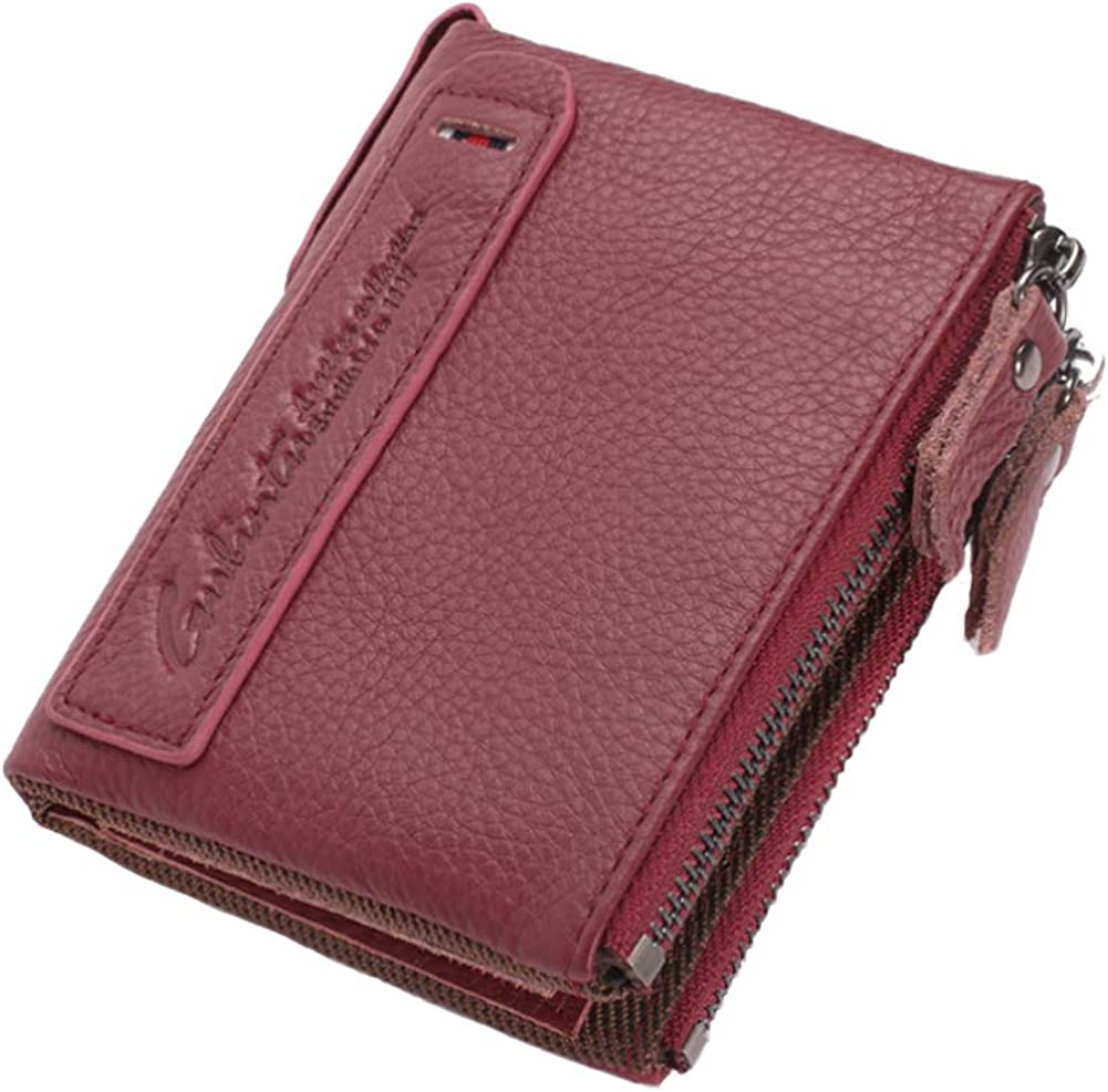 Mens Bifold Genuine Leather Wallet Zipper Solid Vintage Coin Purse Card Holder Large Capacity