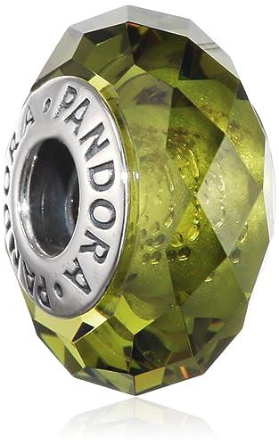 Pandora Damen-Bead Olivgrüne Kristall-Facetten 925 Silber Kristall grün - 791729NLG