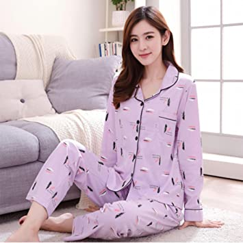 Image Unavailable. Image not available for. Color  MOXIN Women s Pajamas  Autumn and Winter Cotton Long-Sleeved Home Service Suit Nightgown ... c0fbe96f3