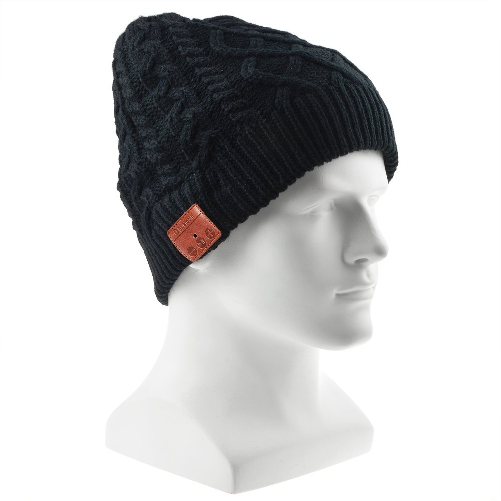 Bluetooth Beanie Hat, Flashmen 2019 Upgraded Wireless Bluetooth 5.0 Beanie Hat with Headphones Headset Earphone Knitted Beanie with Stereo Speakers and Mic for Women Men (Woven-SK-H004B)