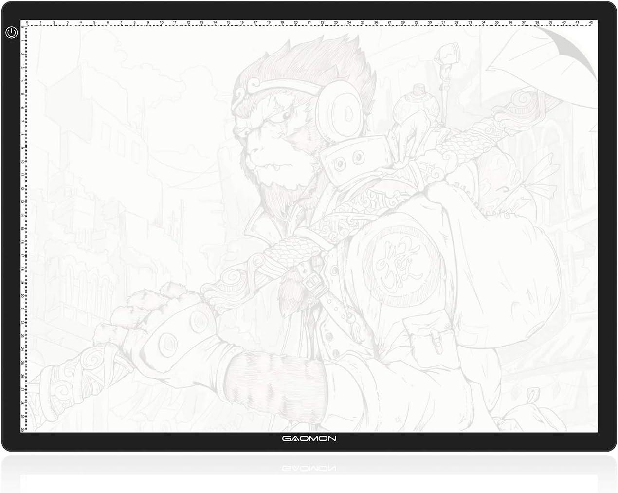 GAOMON GA3 Mesa de Luz Ultrafina Tableta de Luz de Dibujo con Placa de Escala para Pintura de Diamante Boceto Animación Tatuaje de Rayos X