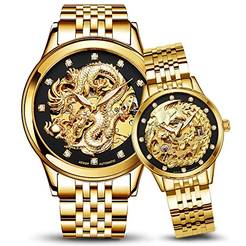 Dragon and Phoenix Luxury Couple Watches Men and Women Gold Automatic Mechanical Watch Chic Dress for Her or His Set of 2 (Full - Hers Set Watch