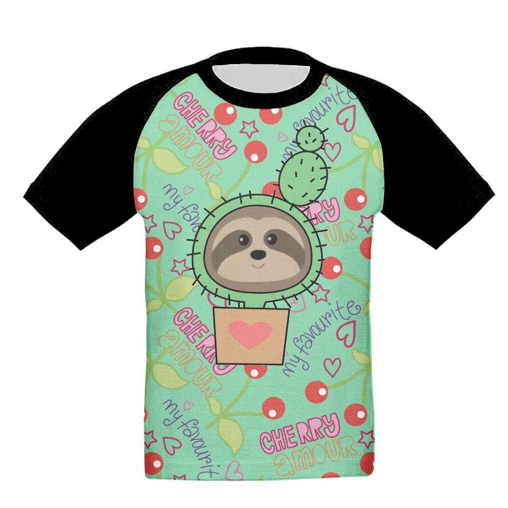 Sloth Face Girls Kid Kids 3D Print Fashion Short Sleeve Shirt