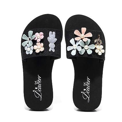 4021a70b9d9f3 Amazon.com: YJYdada Slippers, Women's Fashion Flowers Pearl Platform ...