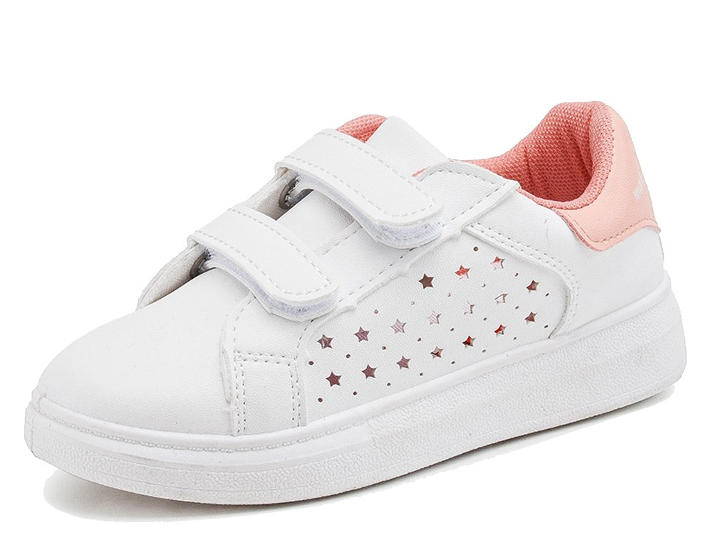 iDuoDuo Kids Classic Leather White Shoes Breathable School Tennis Sneakers Pink 1 11.5 M US Little Kid