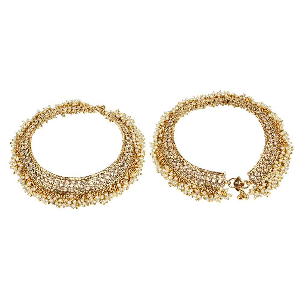 MUCH-MORE Amazing Gold Plated Multi Stone Payal Indian Anklet Party wear Jewelry (116)