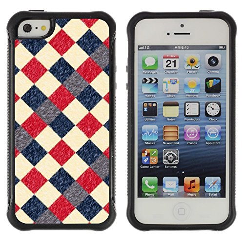 iArmor Hybrid Anti-Shock Defend Case / Vintage Retro Red Checkered Diner Pattern / Apple iPhone 5 / 5S