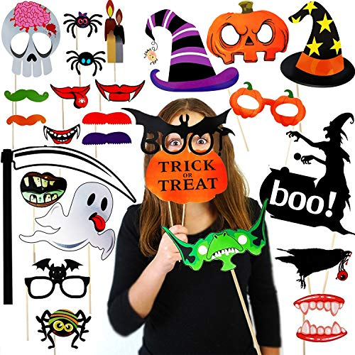 Easy Diy Halloween Props (DIY Halloween Photo Booth Props Kit 27pcs Halloween Haunted House Decorations Horror Family Party Selfie Props for Halloween Party Decoration Supplies Mix of Hats Lips Mustaches and)