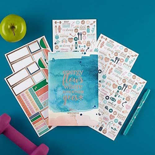 Erin Condren Designer Petite Planner Wellness Log Bundle - Includes Petite Planner and Illustrative and Functional Stickers