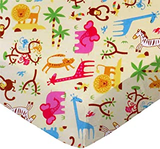 product image for SheetWorld Fitted 100% Cotton Flannel Pack N Play Sheet Fits Graco 27 x 39, Jungle Animals Yellow, Made in USA