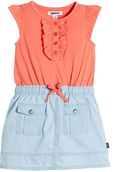 92bdbc55133 Image Unavailable. Image not available for. Color  DKNY® Girls  Denim Dress  - Coral ...