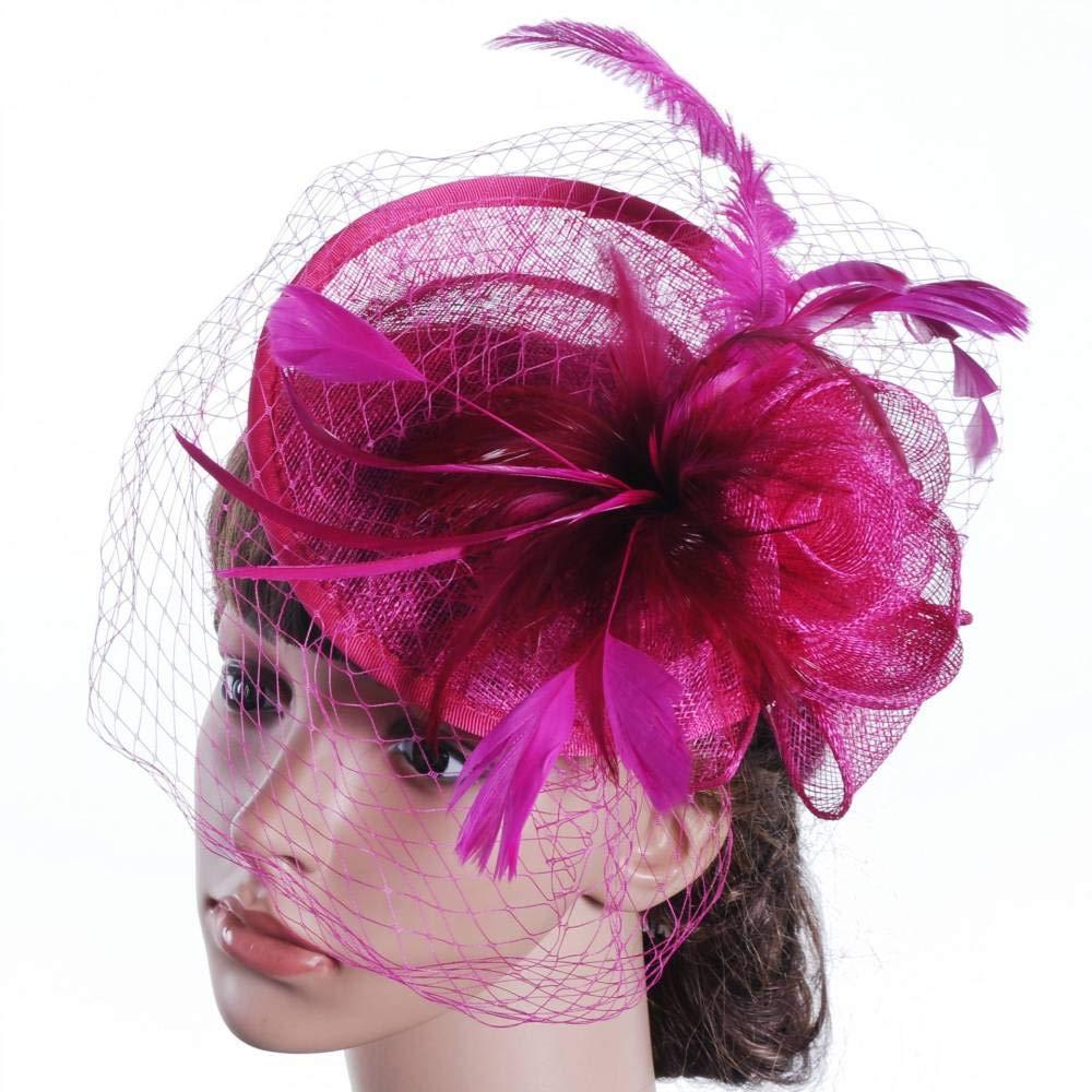 Whktoy Nouveauté Coiffure Coiffe d'autruche Lin Chapeau Bourgeon de Soie Gaze Couleur Pure fête de Mariage Violet Taille Unique