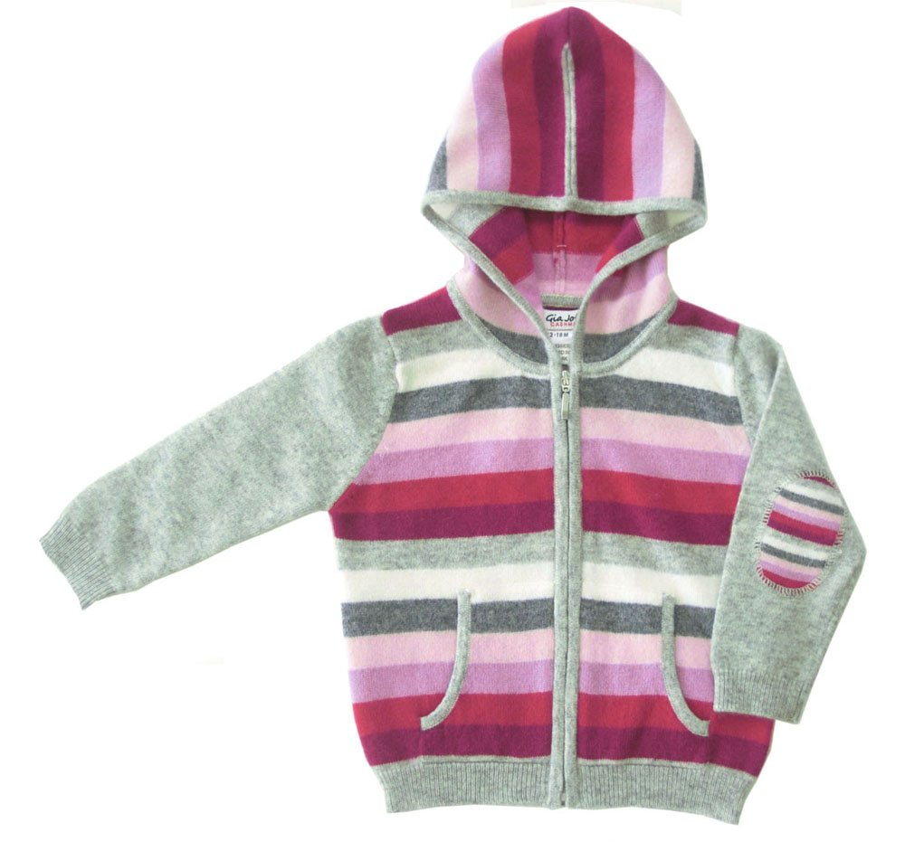 Gia John 100% Cashmere Girl Stripped Hoodie In Pink (6-12M)