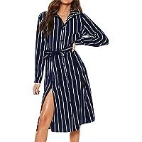 Women Striped Printed Lace Up Dress,FAPIZI Summer Fashion V Neck Long Sleeve Casual Loose Long Dress