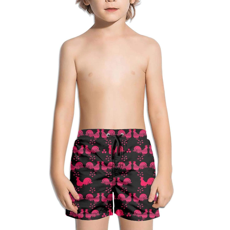 Lenard Hughes Boys Quick Dry Beach Shorts Pockets Red Love Rooster Hen Swim Trunks Summer