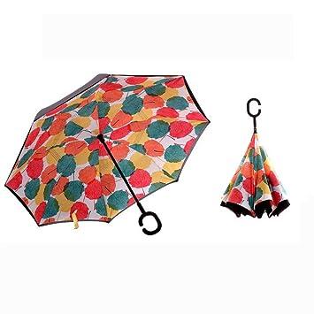 KANGLE Plegable Reverso Paraguas Doble Capa Invertida con Mango En Forma De C, Anti-
