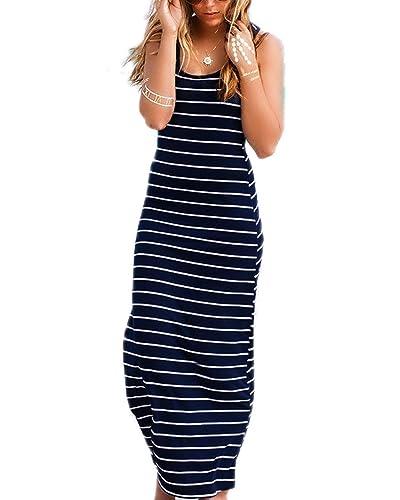 ZANZEA Women Cotton Stripe Sexy Sleeveless Casual Elegant Party Beach Long Tank Dress Sundress