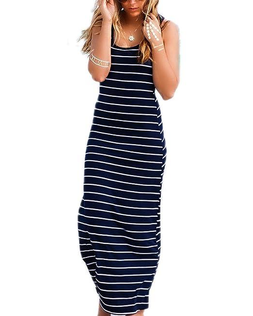 KissLace Mujer Vestido Largo Rayas Playa sin Mangas Tirantes Algodón Fiesta Encaje Cóctel Oficina Noche Azul