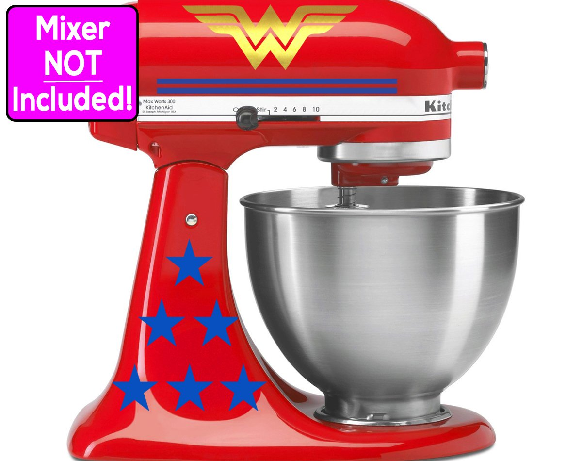 Deluxe Wonder Woman sticker set for KitchenAid stand mixers (Metallic Gold logos w/blue stars & blue stripes) NO MIXER INCLUDED - Decals ONLY