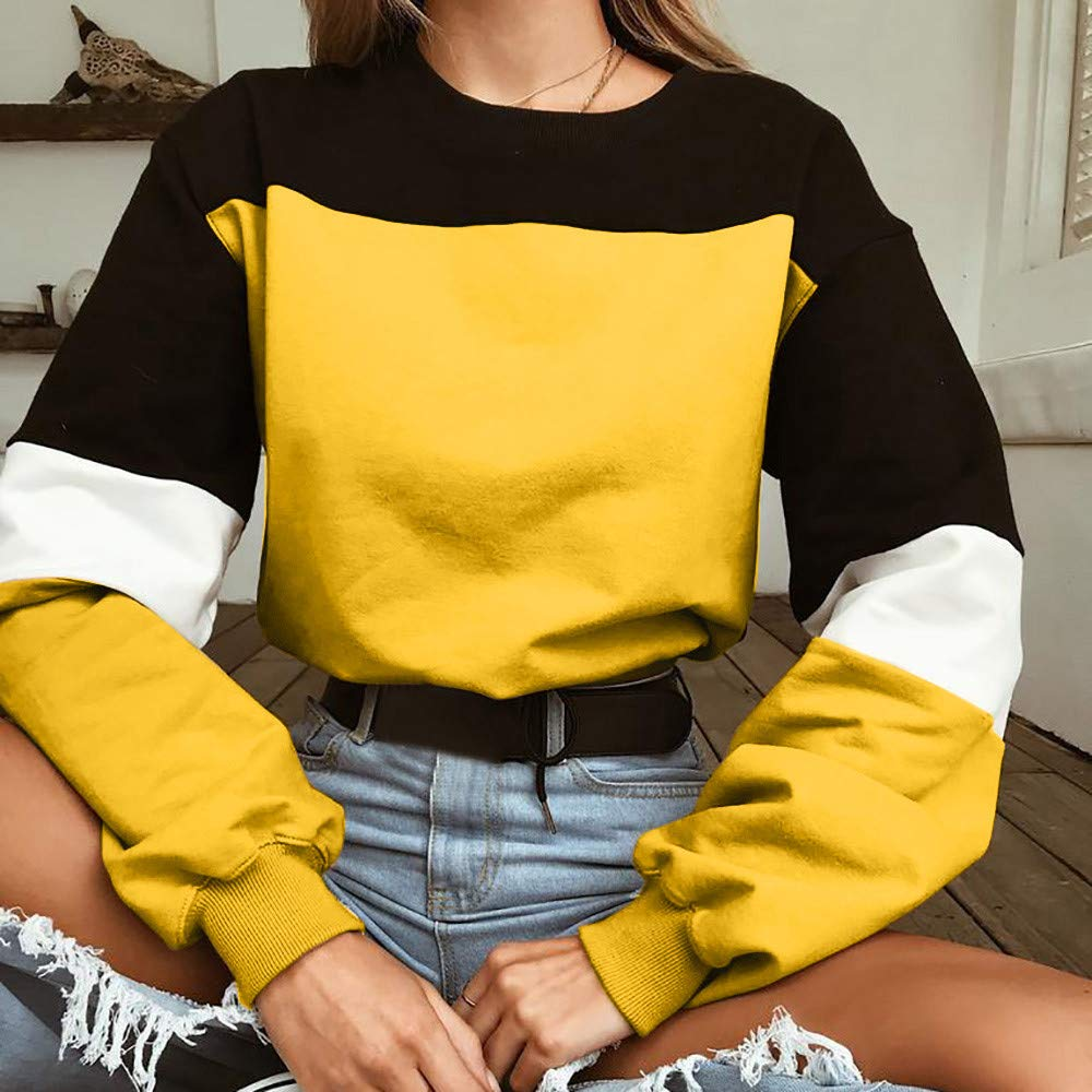 Womens Cropped Sweatshirt Pullover ESAILQ Long Sleeve Splcing Color Cropped Sweatshirt Pullover Tops Blouse