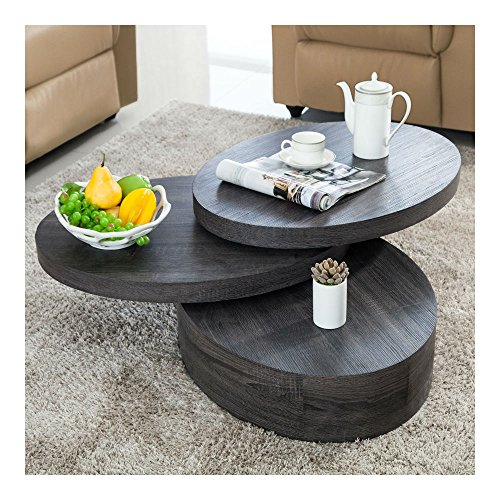 (Oval 3 Layers Black Oak Wood Coffee Table Round Rotating Living Room Furniture)