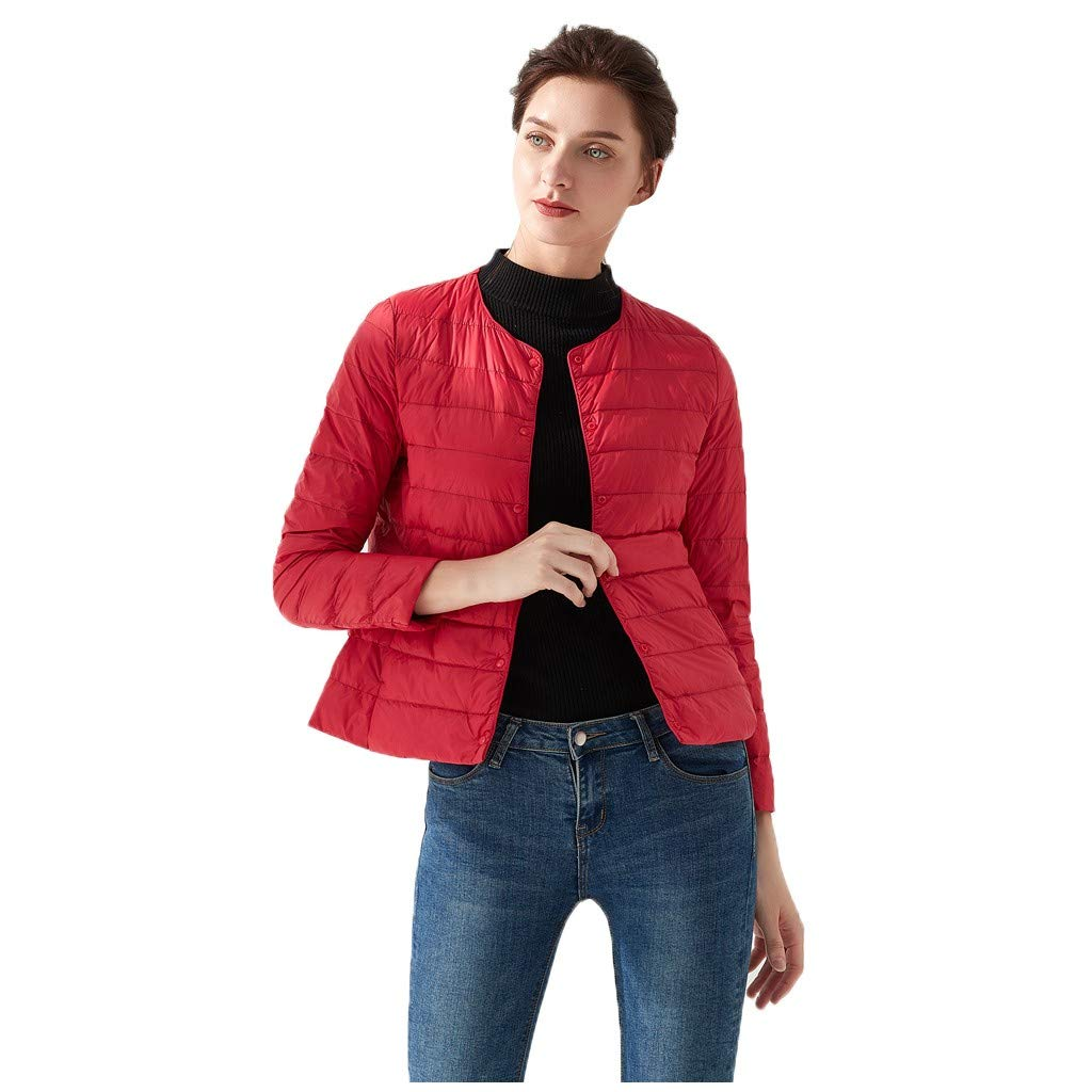 TIFENNY Lightweight Short Down Jacket Women's Casual O-Neck Light Coat Solid Color Button Pocket Down Jackets Outwear Red by TIFENNY