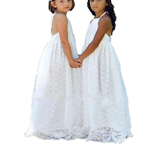 34c7f8737a8 Simlehouse Lace Boho Vintage Hater Flower Girl Dresses Communion Easter  Gowns 2019 Ivory