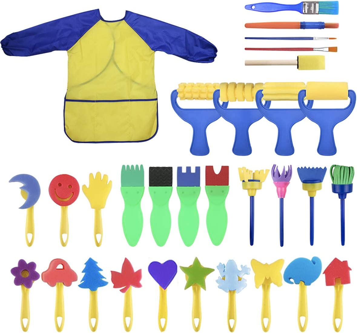 YallFairy Washable Paint Brushes Set for Toddler Kids Early Learning Toys Finger Paints sponges Art Supplies Gifts -nontoxic-100% Baby Safe: Home & Kitchen