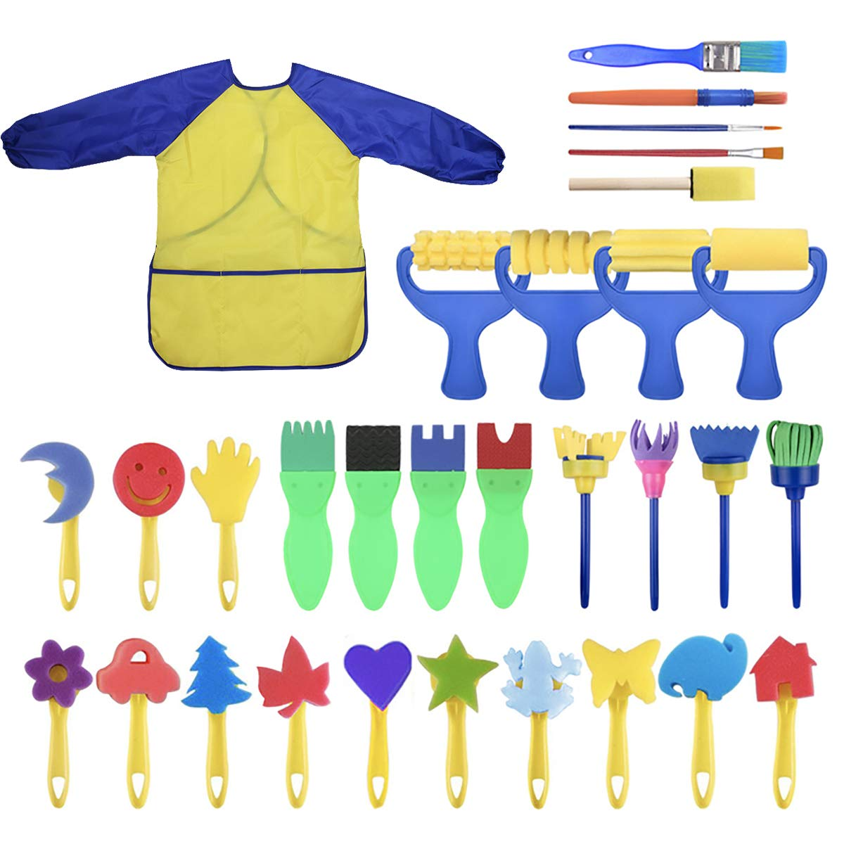 YallFairy Washable Paint Brushes Set for Toddler Kids Early Learning Toys Finger Paints sponges Art Supplies Gifts -nontoxic-100% Baby Safe by YallFairy