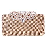 Image of Fawziya Crown Clutch Purse Bling Hard Box Rhinestone Crystal Clutch Bag-Gold